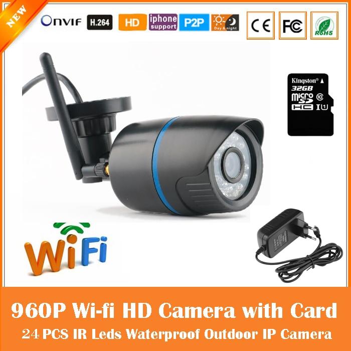 Hd 960p Bullet Ip Camera Wifi Motion Detection Outdoor Waterproof Mini Card Black Cctv Surveillance Security Freeshipping экшен камера bullet hd