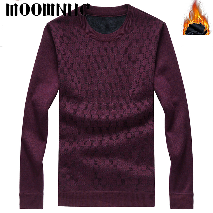 Fashion Sweater Classic style With Velvet Keep Warm Thick O-Neck Men New Business MWC Autumn Winter Casual Men Brank MOOWNUC New