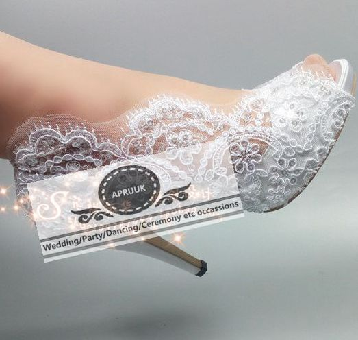 White peep toe lace wedding shoes applique bling sequines decoration HS369 bridal brides bridesmaid satin lace pumps plus size