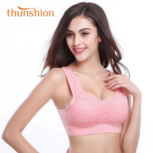 Thunshion Womens Lace Sports Bra Breathable Widened Shoulder Straps Impact Sport Bra for Running Yoga Gym With U design