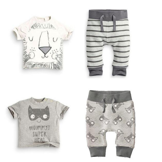 New 2017 summer infant clothes baby boy clothing sets little monsters and the lions short sleeve t-shirt+pants baby boy clothes