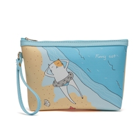 Cartoon One Big Fish Pattern Blue Cosmetic Bag Dorable Style Organizer For Women Girls