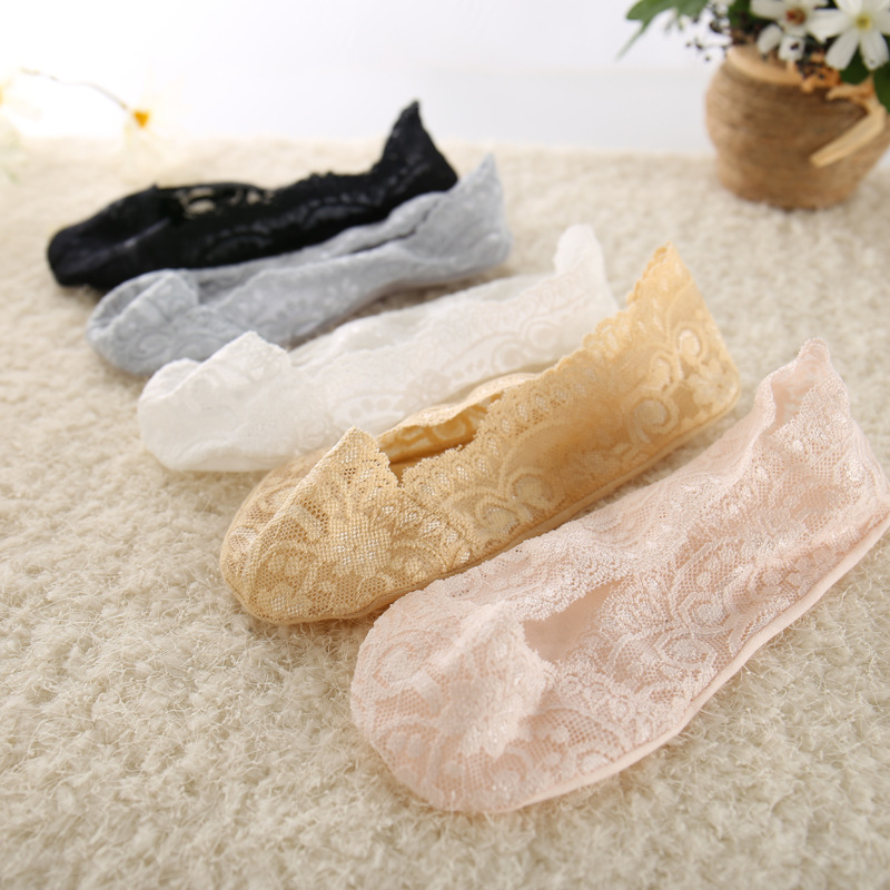 5 Pairs Fashion Women Girls Summer Thin Socks Non-slip Lace Flower Short Sock Antiskid Invisible Ankle Socks 2019 New