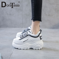 DoraTasia New Ins Hot Sale Letters Thick Platform Sneakers Women 2019 Spring Microfiber Girl Fashion High Platform Shoes Woman