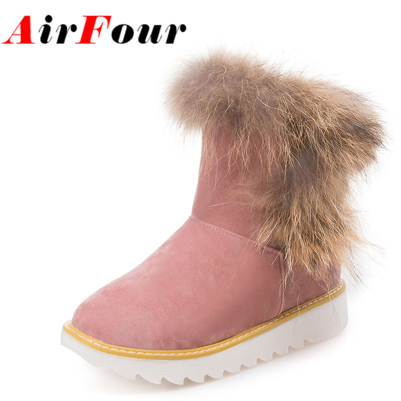 ФОТО Airfour New Warm Snow Boots With Fur Sweet Lady Shoes Woman Flats Ankle Boots Women Winter Flat Casual Short Boots