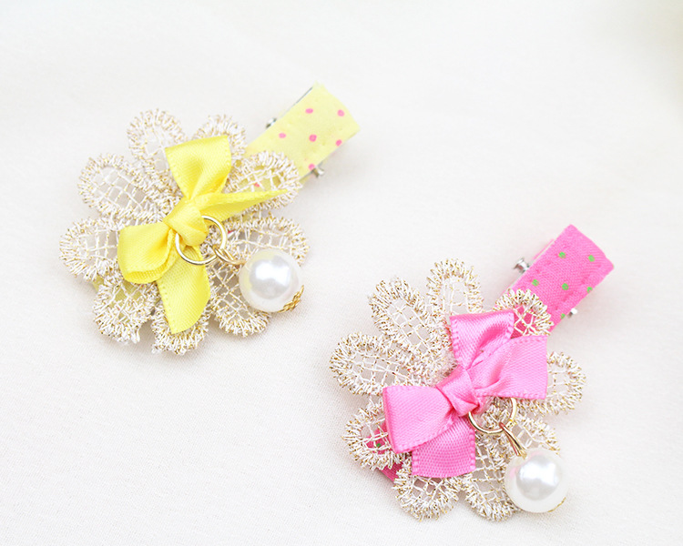 Girl Lace Bow Clip Multi Color Floral Hair Clips With Pearl Flower Hairpin Children Accessories good gift 5pcs lot new hairpin hair clip barrettes children hair accessories wholesale bb clips