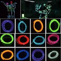 5 M LED Flessibile Luce Al Neon di Incandescenza Chasing EL Tubo della Fune metallica Lampeggiante Con Il Regolatore Car Interior Exterior Atmosfera Luce decalcomanie