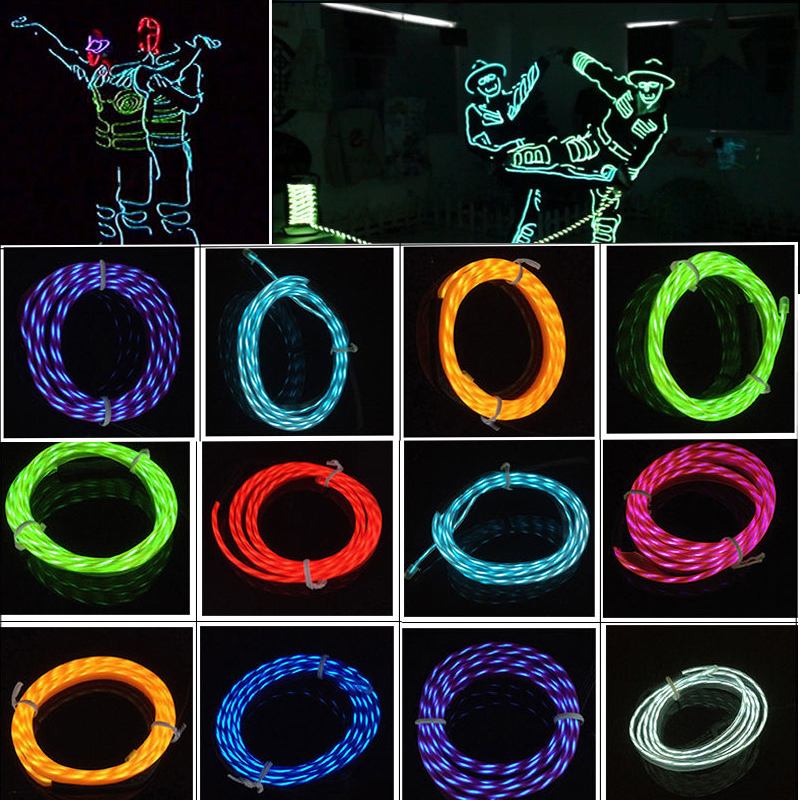 5M Led Flexible Neon Light Glow Chasing El Wire Rope Tube -3875