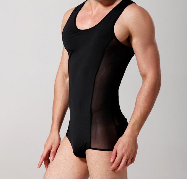 Marca dos homens Sexy Underwear masculino Bodysuits macacão preto, Branco E669