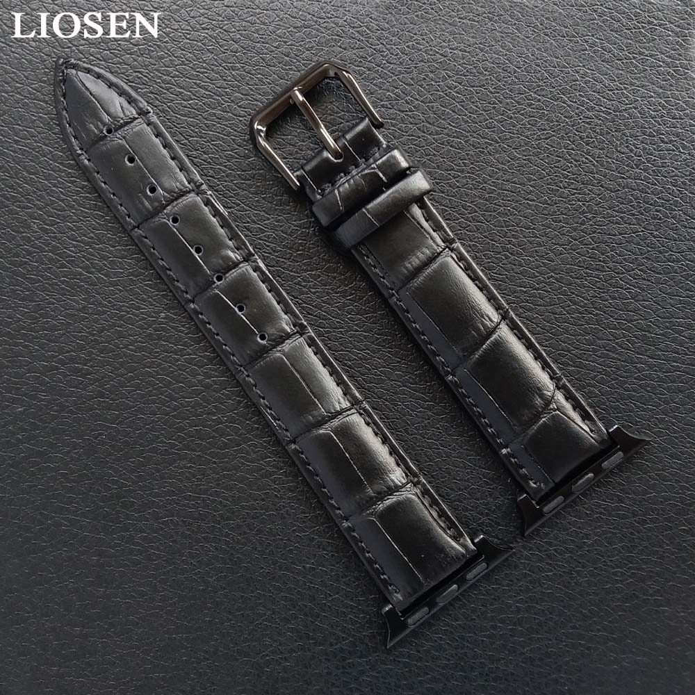 LIOSEN Watches Bracelet for Apple Watch Black Brown Watchbands Genuine Leather Strap Watch Band 38mm 42mm Watch Accessories high quality black color leather 38 42mm width apple watch strap band for apple watches