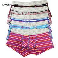5PCS Underwear Men Cotton Boxer Pouch Boxers Shorts Calzoncillos Hombre Cueca Underpants Breathable Soft Striped Boxers Trunks