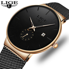 Couple Set Watches LIGE Mens Business Dress Watches Luxury Waterproof Sport Watc