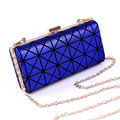 Designer blue evening clutch bags plastic hard handbag women fashion chain bag hard case for party kadinlar el cantasi