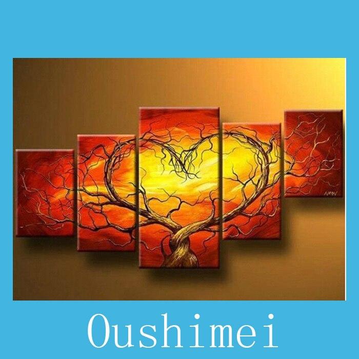 4146 50 De Descuentocuadro De Corazón Abstracto Pintado A Mano En Lienzo Amor Paisaje Pintura Al óleo Sin Marco Para Decoración De Sala De