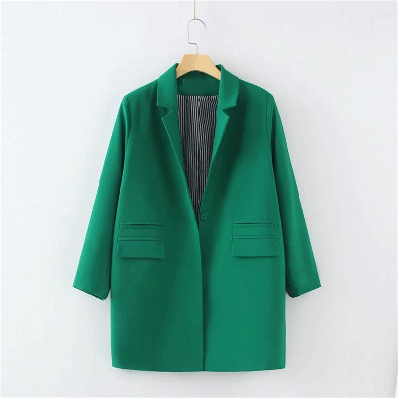 women elegant plain color medium-long design long sleeve Jacket Blazers jacket green black color plus size M-3XL TB487