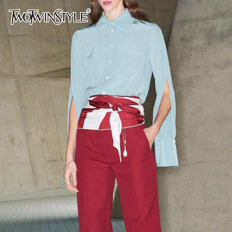 TWOTWINSTYLE Women s Blouse Basic Lapel Collar Lantern Sleeve Large Size Blue Vintage Shirt Female 2019