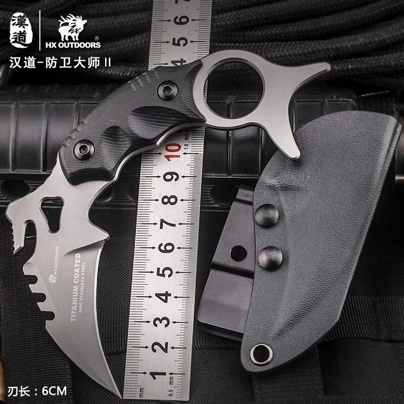 Hx Outdoors Karambit Knife Survival Hunting Camping Cs Go Tianium Fixed Blade 440C Tactical Huntsman Knives Cold Steel EDC
