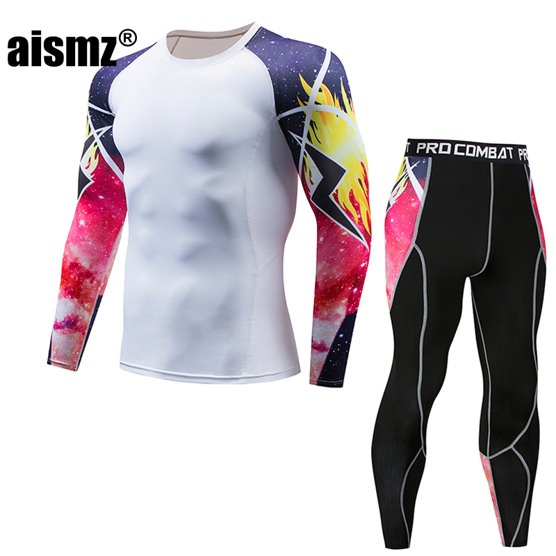 Aismz 3d Two Piece Set Cosplay Skinny Tracksuit Men Compression Jerseys Sets Funny Moletom Masculino Fashion Men Suits