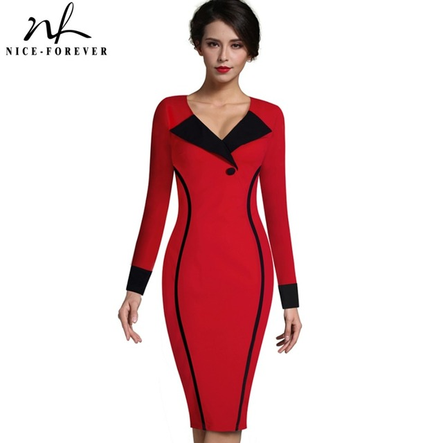 Nice-forever Vintage Mature Elegant Patchwork Button Long Sleeve V-Neck Bodycon Women Office Work Pencil Slim Dress B355