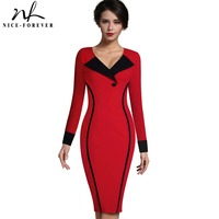 Nice Forever Vintage Mature Elegant Patchwork Button Long Sleeve V Neck Bodycon Women Office Work Pencil
