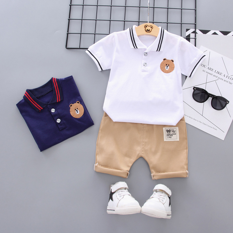 Oklady Boys Clothes Set Baby 1T 2T 3T 4T T Shirt Pants Children Bear White Po Shirts Boy Navy Blue Kid Ropa
