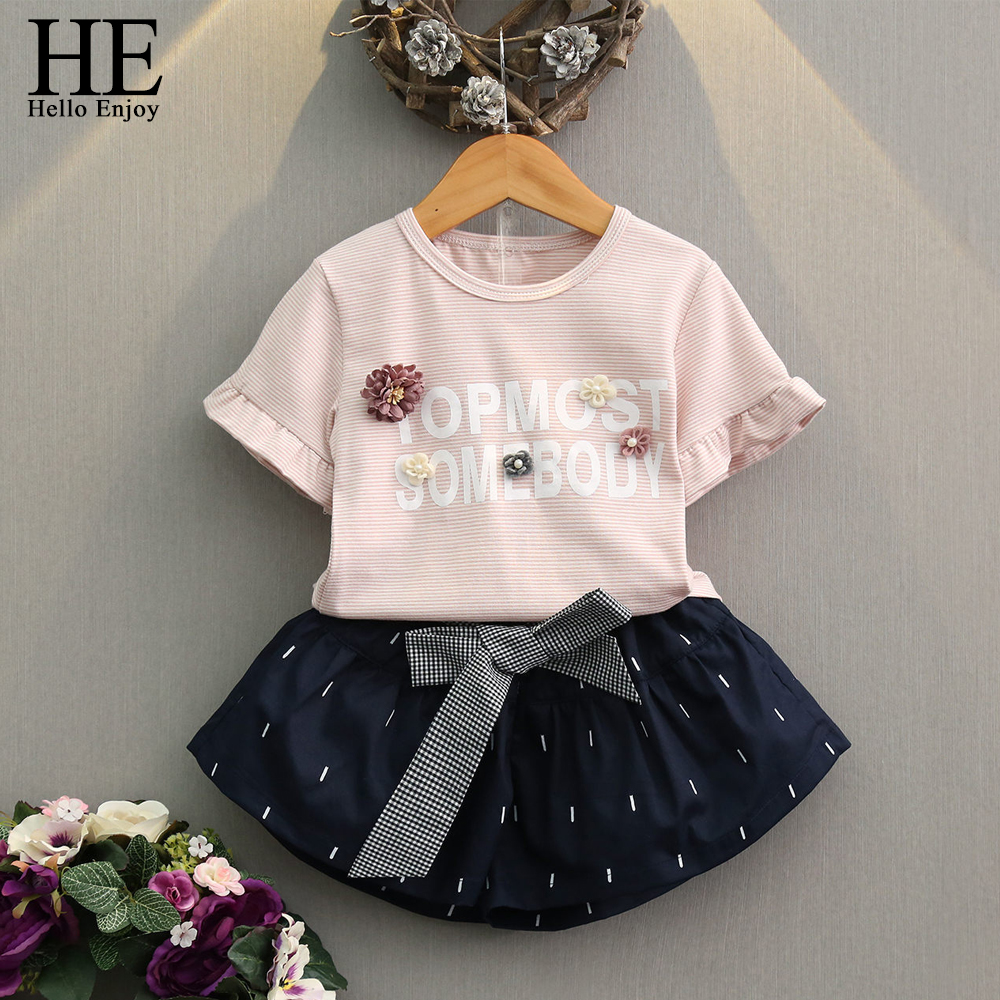 HE Hello Enjoy Girls Clothing Sets Summer Fashion 2018 Childrens Clothes Kids Short Sleeve Stripe Letter T-shirt+Bow Skirt Suits 2017 summer girls sets clothes short sleeve chiffon baby girls sets for kids big girls t shirts and stripe shorts children suits