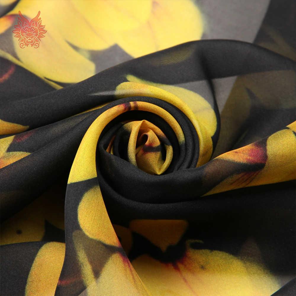 cf3a45d0182 ... Корейский стиль желтый цветочный принт черный 100% натуральный шелк  шифон ткань одежда для платья чистого ...
