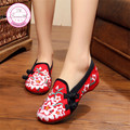 Lírio Bordado Mulheres Mocassins Sapatos Estilo Chinês Velho Pequim Mary Janes High Top Flats Casual Plus Size 41 sapatos de Dança Sapatos de Pano