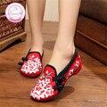 Lirio Bordado Mujeres de Los Holgazanes Zapatos de Estilo Chino Antiguo Pekín Mary Janes High Top Zapatos Planos Ocasionales Más El 41 del Paño de la Danza