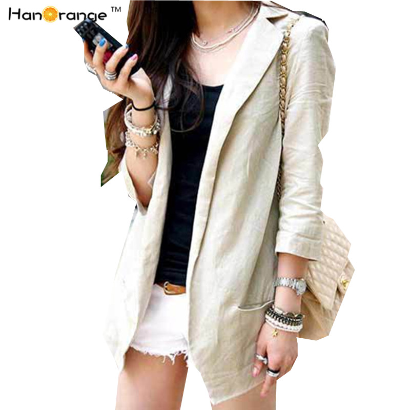 Hanorange 2018 Summer Women Natural Linen Fabric Blazer Slim Thin 3 Quarter Sleeve Cardigan Suit Tops Beige/White S/M/L/Xl/Xxl