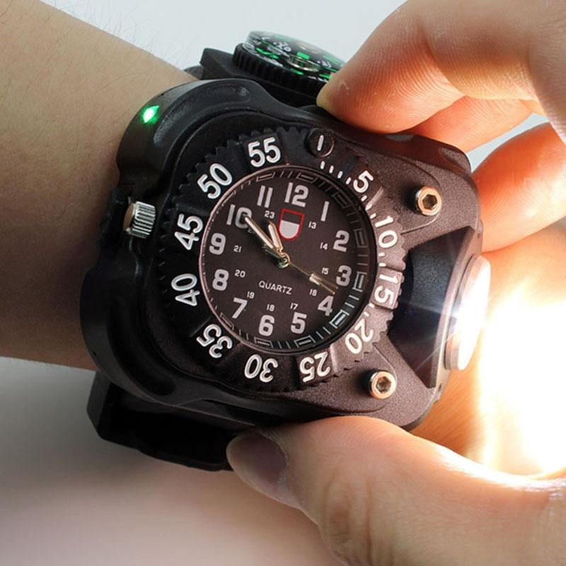 3 In1 Super Bright LED Watch Flashlight Waterproof Torch Lights Compass Outdoor Sports Rechargeable Mens Wrist Watch
