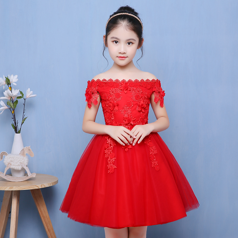 1 12y Red Flower Girl Dresses For Wedding Shoulderless Appliques