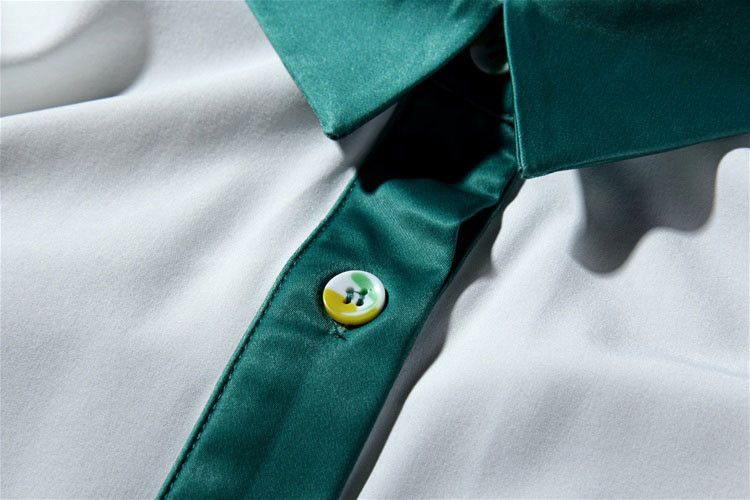 Flower Print Green Skirt White Blouse Suits for Women (10)