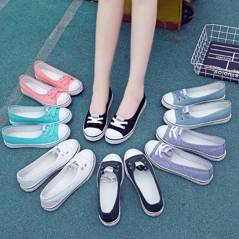 summer fashion women casual shoes lace up comfortable flat casual shoes slipony woman footwear leisure women canvas shoes Fashion Women Summer Canvas Shoes Lace Up Ladies Spring Shallow Casual Shoes Oxfords Female Leisure Women Flats Footwear DC92