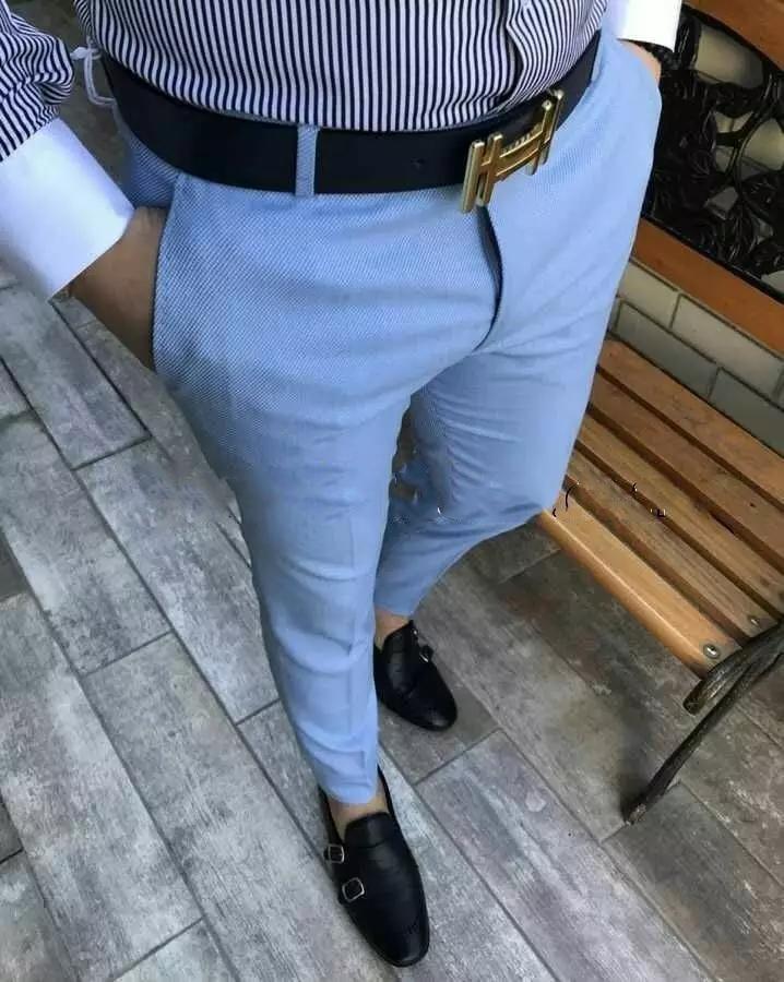 2019 Blue Men Casual Slim Fit Suit Pants Street Fashion Beach Men Tailored Made Trousers Trajes De Hombre De Vestir