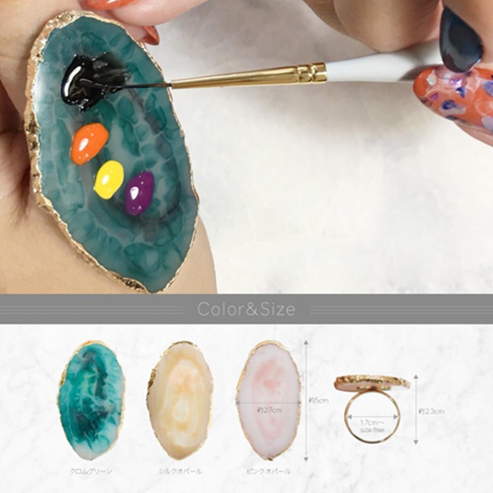 1pc Crystal Eyelash Extension Glue Rings Jade Stone Individual False Eyelash Glue Holder Eyelash Adhesive Stand Pigment