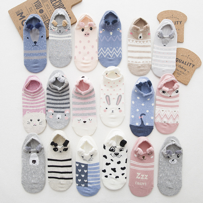 5 Pair/set Women Short Socks Printed Summer Boat Socks Funny Cute Cartoon Animals Ear Low Socks Girls Ankle Socks Wholesale
