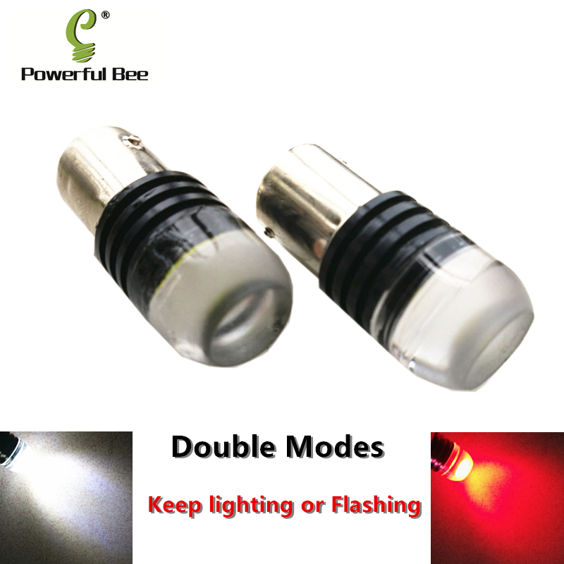 2 x Double modes motorcycle car LED brake tail lights 1156/BA15S 3W white red keep lighting or flashing turn signal lights bulb