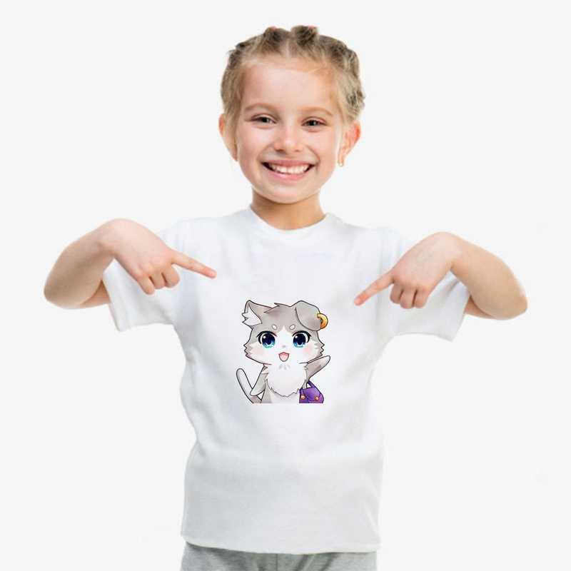 2019 החדש מודאלי T ילדי מחדש: אפס חתול קריקטורה חמוד הדפסת נוחות עגול צוואר קצר שרוול למעלה לבן חולצה A193121