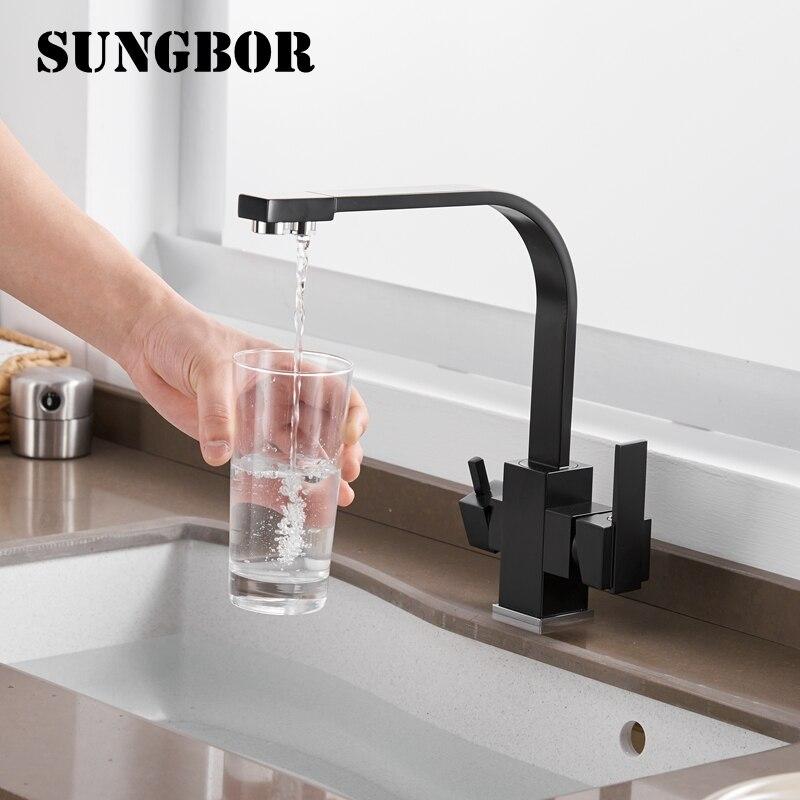 3 voies robinet d'eau potable filtre à eau purificateur cuisine robinet noir chaud froid mélangeur bassin robinet 360 pivotant cuisine robinet 0178H