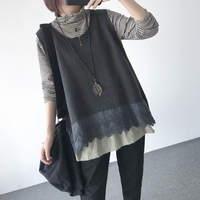 Poncho Hot Sale Solid Regular Pullovers Pull 2018 Chinese New Year Vest Women Sleeveless Sweater Loose