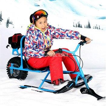 Motos de nieve para niños, esquí, Snowboard, combustible de gasolina con freno...