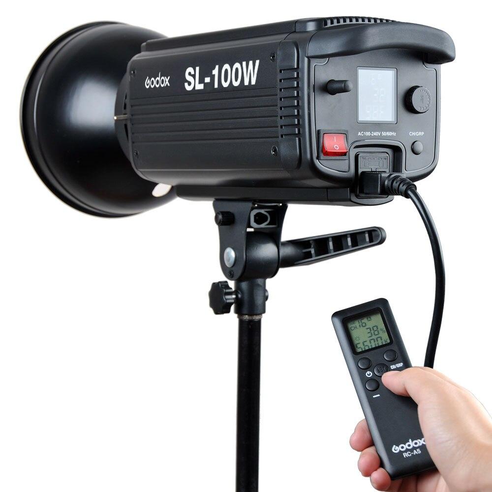 Godox SL-100W 2400LUX photographie Studio LED Continu Vidéo Lumière Bowens Mont avec Lampe + Réflecteur Standard + Chargeur