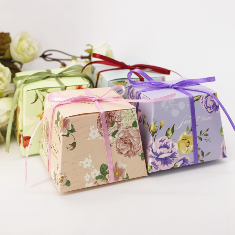 20 Pcs/Lot Floral Candy Boxes Bonbonniere Sweet Paper Box Wedding Favor Boxes Gift Box Birthday Party Supplies