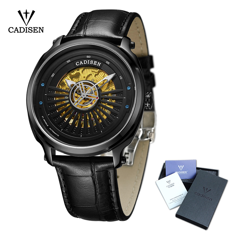 CADISEN Men Watch Skeleton Automatic Leather Stainless steel Couples Fashion Business Top Brand Luxury Waterproof Wristwatch