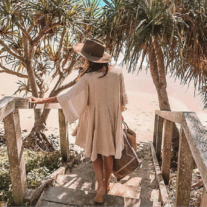 Image 3 - TEELYNN כותנה ופשתן טוניקת מיני שמלות boho מוצק שמלת o צוואר loose קצר קיץ שמלות חוף שמלה צוענית נשים vestidos