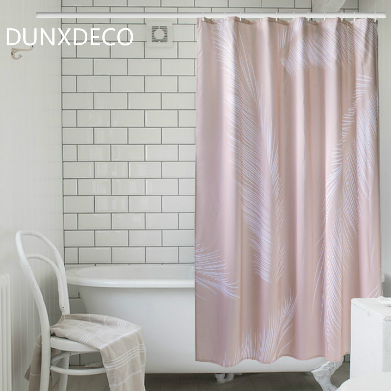 DUNXDECO Shower Curtain Bathroom Waterproof Cortinas Nordic Simple Palm Pink Green Polyester Fabric Rideau Art Home