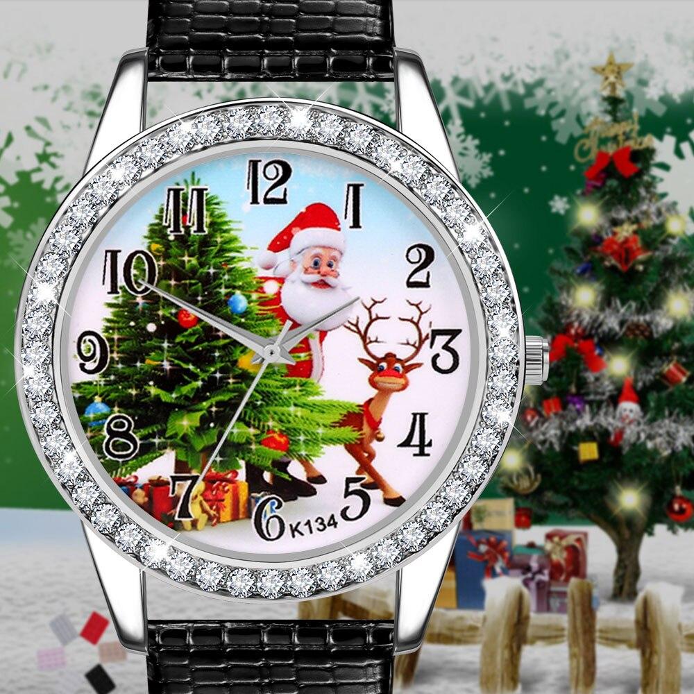 Women Watch Christmas Diamond Leather Band Analog Quartz Vogue Wrist Watches Gift fashion casual watches ladies A40