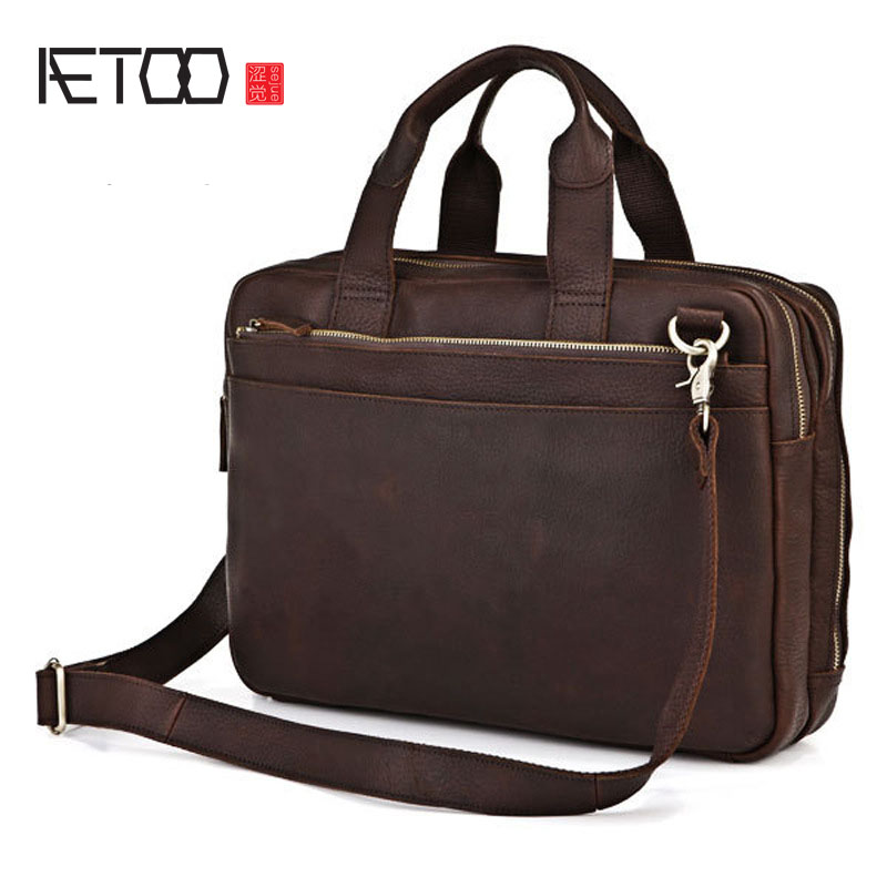 AETOO Europe and the United States fashion men bag retro first layer cowhide men briefcase business handbag leather shoulder bag europe and the united states style first layer of leather lychee handbag fashion retro large capacity solid business travel bus