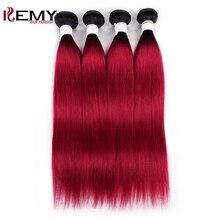 4 пряди, человеческие волосы, 1В/Бург, темный корень, Омбре, красный, бразильские Прямые Натуральные кудрявые пучки волос, KEMY Hair, не Реми, волосы для плетения